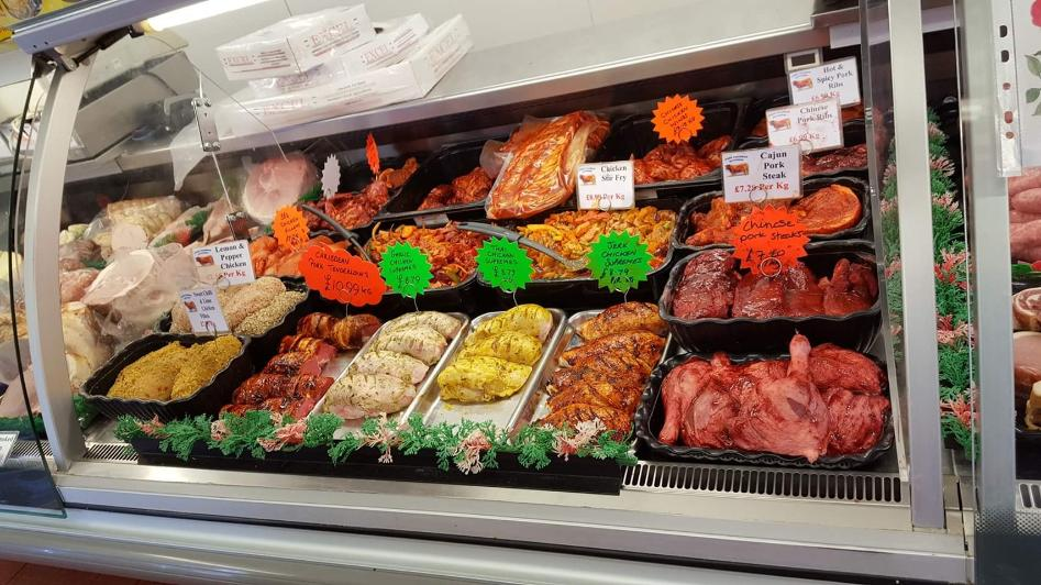 Barbecue meats counter